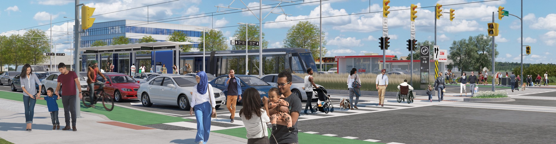 Photo rendering of new Hurontario Light Rail Trainsit (LRT)